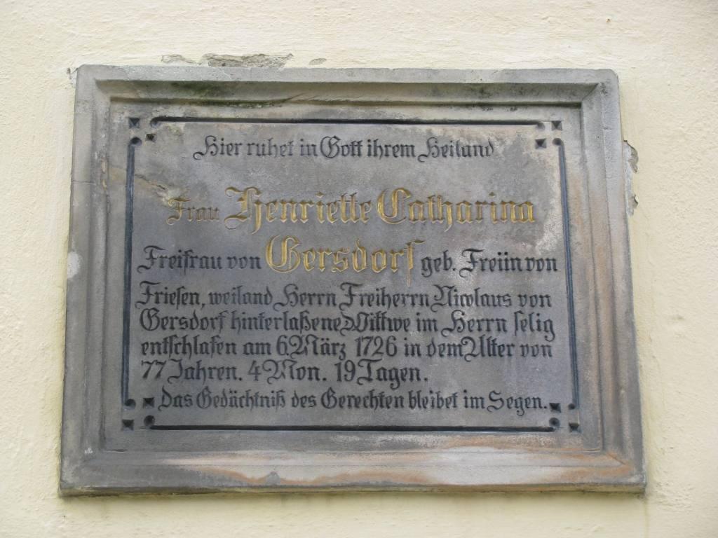 Płyta nagrobna, Henriette Sophie von Gersdorff (1686-1761).