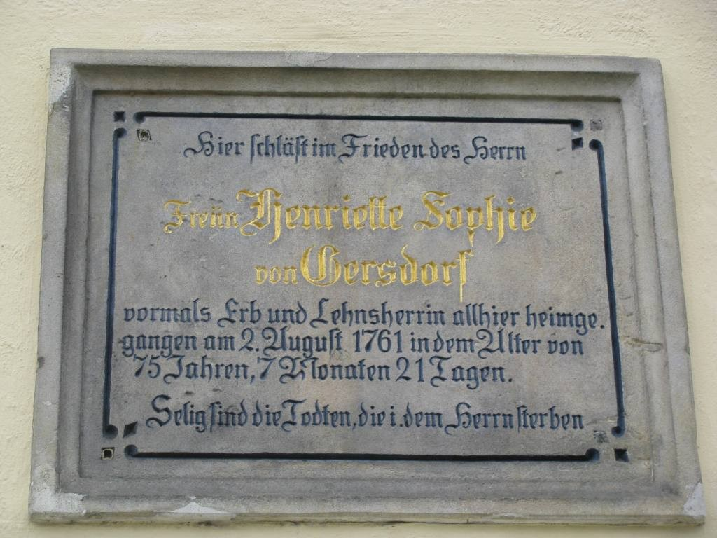 Płyta nagrobna, Henriette Sophie von Gersdorf (1686–1761).